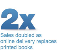 Sales doubled as online delivery replaces printed books.